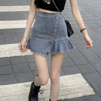 skirt Summer 2021 S,M,L Wash blue Short skirt commute High waist A-line skirt Solid color Type A 18-24 years old 31% (inclusive) - 50% (inclusive) other other fold Korean version
