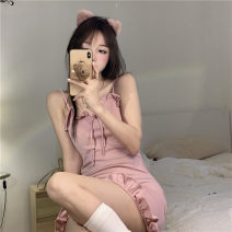 Dress Summer 2021 Pink Average size Short skirt singleton  Sleeveless commute One word collar High waist Solid color Socket A-line skirt other camisole 18-24 years old Type A Korean version 31% (inclusive) - 50% (inclusive) other other