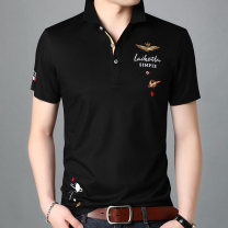 T-shirt Youth fashion Black, red, yellow, white, light blue, royal blue thin 165/M,170/L,175/XL,180/XXL,185/XXXL,190/XXXXL Others Short sleeve Lapel standard daily summer Cotton 50.7% polyester 49.3% youth routine tide Bead mesh Geometric pattern Embroidery 3D effect No iron treatment Fashion brand