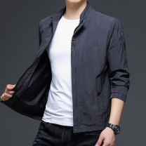 Jacket Other / other Fashion City Black, gray M,L,XL,2XL,3XL,4XL,5XL thin standard Other leisure spring Long sleeves Wear out stand collar routine Zipper placket 2021 No iron treatment badge Zipper bag