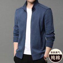 Jacket Other / other Youth fashion Black, blue 165/S,170/M,175/L,180/XL,185/2XL,190/3XL routine standard Other leisure spring Cotton 67.7% polyester 32.3% Long sleeves Wear out stand collar Business Casual youth routine Zipper placket Rib hem No iron treatment Closing sleeve Solid color