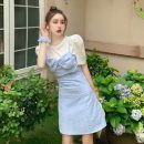 Fashion suit Summer 2021 S. M, l, average size Blue suspender skirt with white short sleeves 18-25 years old Other / other X3.17