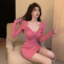Dress Spring 2021 Black, pink Average size Middle-skirt singleton  Long sleeves commute V-neck High waist Solid color Socket One pace skirt routine Others 18-24 years old Other / other Korean version fold J 12.20 51% (inclusive) - 70% (inclusive) brocade cotton