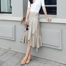 skirt Spring 2021 S M L XL Beige Mid length dress commute High waist Ruffle Skirt Solid color Type A 25-29 years old YX11D0043 51% (inclusive) - 70% (inclusive) other Yaqiandi cotton Lace up Korean version Cotton 70% flax 30% Pure e-commerce (online only)