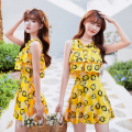 one piece  other S. M, l, XL, wholesale Pink 88259, purple 88259, yellow 88259 One piece flat corner swimsuit With chest pad without steel support other female Short sleeve Casual swimsuit Animal pattern Lotus leaf edge