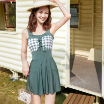 one piece  Denzman M (85-95 kg), l (95-105 kg), XL (105-115 kg) Green 6628, bean red 6628, black 6628 Skirt one piece With chest pad without steel support female Sleeveless Casual swimsuit lattice