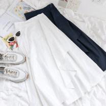skirt Summer 2021 Average size White, blue 18-24 years old More than 95% polyester fiber