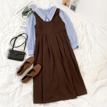 Fashion suit Summer 2021 Average size Lapel shirt , Bandage dress 18-25 years old 96% and above cotton