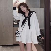 Dress Summer 2021 White, black XXS 50 kg, XS 80-90 kg, s 90-100 kg, m 100-115 kg, l 115-130 kg, XL 130-145 kg, 2XL 145-160 kg, 3XL 160-180 kg Long sleeves Admiral Loose waist A-line skirt other other