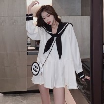 Dress Summer 2021 White, black XXS 50 kg, XS 80-90 kg, s 90-100 kg, m 100-115 kg, l 115-130 kg, XL 130-145 kg, 2XL 145-160 kg, 3XL 160-180 kg Long sleeves Admiral Loose waist A-line skirt other other