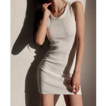Dress Summer 2021 Black, white S, M Short skirt singleton  Sleeveless High waist camisole
