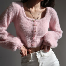 sweater Spring 2021 Average size Pink Long sleeves singleton  Regular other 81% (inclusive) - 90% (inclusive) square neck