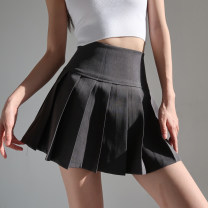 skirt Spring 2021 S, M Black, gray Short skirt commute High waist Pleated skirt Solid color Type A 18-24 years old fold