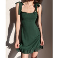 Dress Summer 2021 green S, M Short skirt singleton  Sleeveless High waist camisole