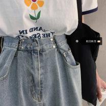 Women's large Spring 2021, summer 2021, autumn 2021 blue S [recommended 80-95 kg], m [recommended 95-110 kg], l [recommended 110-125 kg], XL [recommended 125-140 kg], 2XL [recommended 140-160 kg], 3XL [recommended 160-180 kg], 4XL [recommended 180-200 kg] Jeans singleton  commute easy moderate pocket
