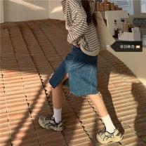 Women's large Spring 2021, summer 2021, autumn 2021 Light blue, dark blue S [recommended 80-95 kg], m [recommended 95-110 kg], l [recommended 110-125 kg], XL [recommended 125-140 kg], 2XL [recommended 140-160 kg], 3XL [recommended 160-180 kg], 4XL [recommended 180-200 kg] skirt singleton  commute
