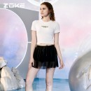 Split swimsuit Zoke / zhouke 120601227 white, space traveler series, new products on the market M,L,XL,2XL Skirt split swimsuit With chest pad without steel support spandex jGFdx Crew neck