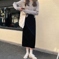 skirt Winter 2020 Average size Apricot, grey, black Mid length dress Sweet High waist Flower bud skirt Solid color Type H 18-24 years old More than 95% cotton solar system