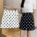 skirt Summer 2021 S,M,L White, black Short skirt Versatile High waist A-line skirt Dot Type A 18-24 years old ZXJ5048 30% and below other Other / other other