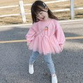 Sweater / sweater Other / other Blue, pink female 80cm,90cm,100cm,110cm,120cm,130cm spring and autumn nothing Korean version Socket routine There are models in the real shooting other Solid color other