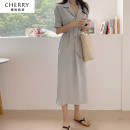 Dress Summer 2021 Blue, Khaki S,M,L Mid length dress singleton  Short sleeve commute High waist Solid color Socket A-line skirt routine Others 18-24 years old Type A Other / other Korean version ythz20212183 51% (inclusive) - 70% (inclusive) cotton