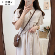Dress Summer 2021 Apricot pinstripes, blue pinstripes S,M,L,XL Mid length dress singleton  Short sleeve commute Polo collar stripe Socket Big swing routine Others 18-24 years old Type A Other / other Korean version