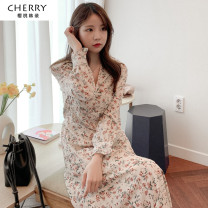 Dress Autumn 2020 Floral skirt S,M,L,XL Mid length dress singleton  Long sleeves commute V-neck Broken flowers A-line skirt routine Others 18-24 years old Type A Korean version