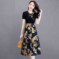 Dress Summer 2020 Mid length dress singleton  Short sleeve Sweet Elastic waist Broken flowers A-line skirt routine Others 25-29 years old 31% (inclusive) - 50% (inclusive) Chiffon nylon princess