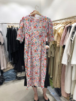 Dress Summer 2020 Yellow, pink S,M,L,XL Mid length dress singleton  Short sleeve commute V-neck High waist Broken flowers Socket other routine 18-24 years old Korean version 30% and below other