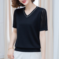Middle aged and old women's wear Spring 2021 Green apricot red black Navy S [recommended 85-100 kg] m [recommended 100-108 kg] l [recommended 109-119 kg] XL [recommended 120-130 kg] XXL [recommended 130-140 kg] XXXL [recommended 140-155 kg] commute T-shirt easy singleton  Solid color Socket thin