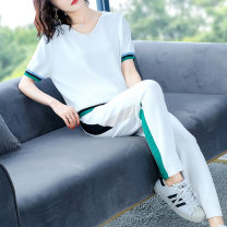 Middle aged and old women's wear Summer 2020 White black Navy M L XL XXL XXXL 4XL fashion suit easy Two piece set Solid color 50-59 years old Socket thin V-neck have cash less than that is registered in the accounts routine RC2812 Wise and clear polyester 31% (inclusive) - 50% (inclusive)