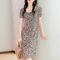 Middle aged and old women's wear Summer 2021 commute Dress singleton  Design and color Condom thin square neck Medium and long term routine RC0429002 Wise and clear polyester Polyester 100% 96% and above Pure e-commerce (online sales only) longuette M L XL XXL