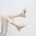 Sandals 34,35,36,37,38,39,40 Apricot, green Superfine fiber Bu Mei shoes Baotou Flat heel Low heel (1-3cm) Summer 2021 Trochanter Korean version Solid color Adhesive shoes Youth (18-40 years old) TPR (tendon) daily Back space Shallow mouth, water drill, thick heel Low Gang Hollow Microfiber skin