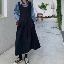Women's large Winter 2020 Skirt, shirt, shirt + skirt Big L (90-110kg), big XL (110-130kg), big 2XL (130-150kg), big 3XL (150-170kg), big 4XL (170-190kg) Dress Two piece set commute easy moderate Cardigan Long sleeves Solid color Korean version Polo collar routine shirt sleeve longuette