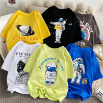 T-shirt yellow , black , Fluorescent green , white , orange , iron gray , Royal Blue Other / other (tag 110), (tag 120), (tag 130), (tag 140), (tag 150), (tag 160) neutral summer Short sleeve Crew neck leisure time nothing cotton printing SY21ZXDX20255