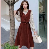Dress Spring 2021 Brown, black, brick red S,M,L,XL longuette Fake two pieces Long sleeves commute Lotus leaf collar High waist Broken flowers Socket A-line skirt routine Others 25-29 years old Type A Retro Frenulum Q221 71% (inclusive) - 80% (inclusive) brocade cotton