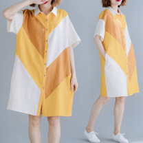 Women's large Summer of 2019 Picture color Average size [100-200kg] shirt singleton  commute easy moderate Cardigan Short sleeve Solid color Korean version Polo collar Medium length hemp Collage routine Other / other 81% (inclusive) - 90% (inclusive) Medium length