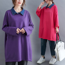 Women's large Winter 2020, autumn 2020 Rose red, purple Average size [recommended 110-220 kg] Sweater / sweater singleton  commute easy thick Socket Long sleeves Solid color Korean version Polo collar Medium length Denim, cotton Collage routine Other / other 51% (inclusive) - 70% (inclusive)