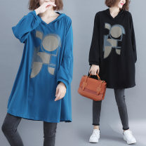 Women's large Winter 2020, autumn 2020 Off white, blue, black 100 kg Dress singleton  commute easy moderate Socket Long sleeves shape Korean version Hood cotton printing and dyeing routine Other / other 96% and above Medium length