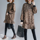Women's large Autumn of 2018, winter of 2018 Picture color Average size [100-200kg] Dress singleton  commute easy thick Socket Long sleeves Leopard Print Korean version Crew neck Polyester, deerskin Collage routine Other / other 71% (inclusive) - 80% (inclusive) Medium length Ruffle Skirt