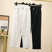 Women's large Spring 2021 White, black XL (recommended 90-110 kg), 2XL (recommended 110-130 kg), 3XL (recommended 130-150 kg), 4XL (recommended 150-170 kg), 5XL (recommended 170-200 kg) Jeans singleton  commute Straight cylinder moderate Solid color Korean version Denim Hand abrasion Other / other