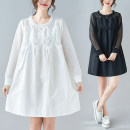 Dress Spring 2021 White, black M [recommended 95-120 kg], l [recommended 120-140 kg], XL [recommended 140-160 kg], XXL [recommended 160-180 kg], 3XL [recommended 180-200 kg] Middle-skirt singleton  Long sleeves commute Crew neck Loose waist Solid color Socket A-line skirt routine Others Type A other