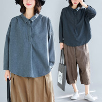 Women's large Autumn of 2019 Dark grey, grey One size fits all shirt singleton  commute easy moderate Socket Long sleeves Solid color Korean version Polo collar routine Polyester, cotton Collage shirt sleeve Other / other Bandage 81% (inclusive) - 90% (inclusive) bow Three buttons