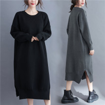 Women's large Winter 2020 Gray, black L [recommended 100-160 kg], XXL [recommended 160-210 kg] Dress singleton  commute easy thickening Socket Long sleeves Solid color Korean version Crew neck Acrylic, others Three dimensional cutting routine Other / other 25-29 years old longuette