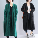 Women's large Spring of 2019, autumn of 2019 Dark green, black One size fits all Windbreaker singleton  commute easy moderate Cardigan Long sleeves Solid color Retro other Medium length Others, cotton Three dimensional cutting routine Other / other 71% (inclusive) - 80% (inclusive)