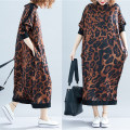 Women's large Spring of 2019 Picture color Dress singleton  commute easy moderate Socket Long sleeves Animal pattern Korean version Half high collar cotton printing and dyeing routine Other / other 81% (inclusive) - 90% (inclusive) longuette