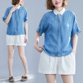 Women's large Summer of 2019 blue shirt singleton  commute easy thin Socket Short sleeve Solid color literature Polo collar routine Denim Collage routine Other / other 51% (inclusive) - 70% (inclusive)