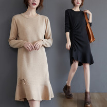 Dress Spring 2021 Khaki, black Average size [recommended 90-130 kg] Mid length dress singleton  Long sleeves commute Crew neck middle-waisted Solid color Socket Ruffle Skirt routine Others Type H Other / other Korean version Ruffles, pleats, stitching 31% (inclusive) - 50% (inclusive) other cotton