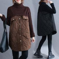 Women's large Winter 2020 Brown, black Average size [recommended 95-160 kg] sweater Fake two pieces commute easy thickening Socket Long sleeves Solid color Korean version High collar Medium length Polyester, cotton, acrylic Collage routine Other / other 51% (inclusive) - 70% (inclusive)