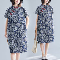 Dress Summer 2020 Tibetan blue L [95-120 kg], XL [120-140 kg], XXL [140-170 kg] Mid length dress singleton  Short sleeve commute stand collar Loose waist Decor Three buttons A-line skirt routine Others Type A Other / other ethnic style Pocket, print 31% (inclusive) - 50% (inclusive) other hemp